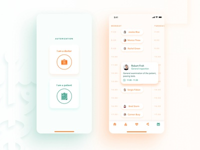 Medical app concept part 2 clean ui ui service patient medicine medical list healthcare health graphic doctor curve role clinic mobile clean card