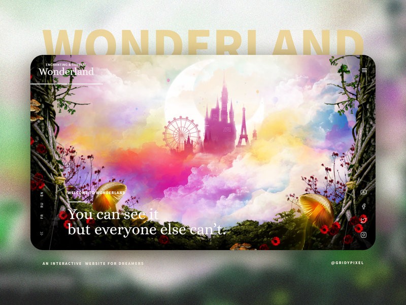 Wonderland : An Interactive Website For Dreamers colorful illustration ui design app branding homepage landing page web uidesign
