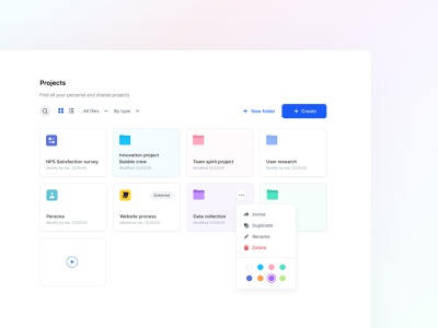 Colors the project section app design gradient minimalist mini folder projects ui