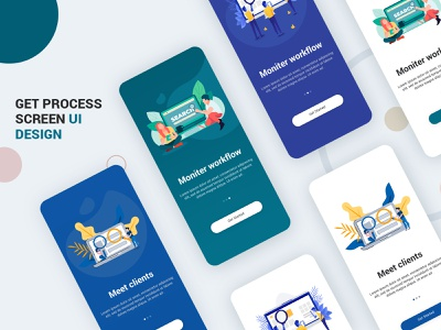 Get Started Screen Design UI Kit PSD android ios login website profile ui user profile free psd android app app design