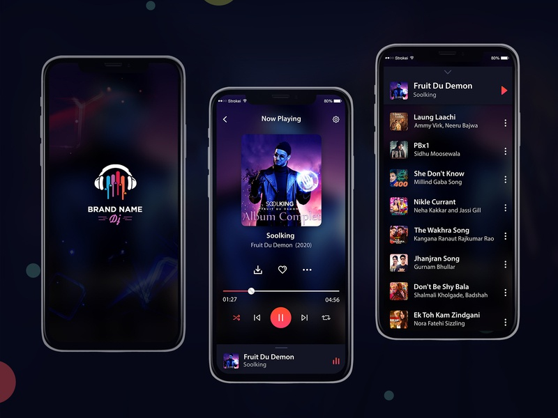 Mobile Music Player Ui Design PSD ios web login profile ui user profile free psd android app app design