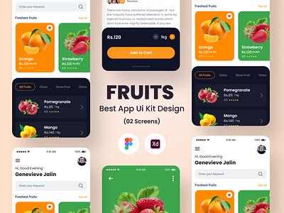 Fruits Best App Ui Kit Design illustration login profile user profile free psd app android app design
