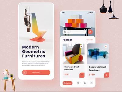Modern Furniture Mobile App Ui Kit typography branding illustration profile ui design