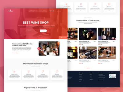 New Wine Shop Landing Page ux vector illustration web ui user profile app android app design