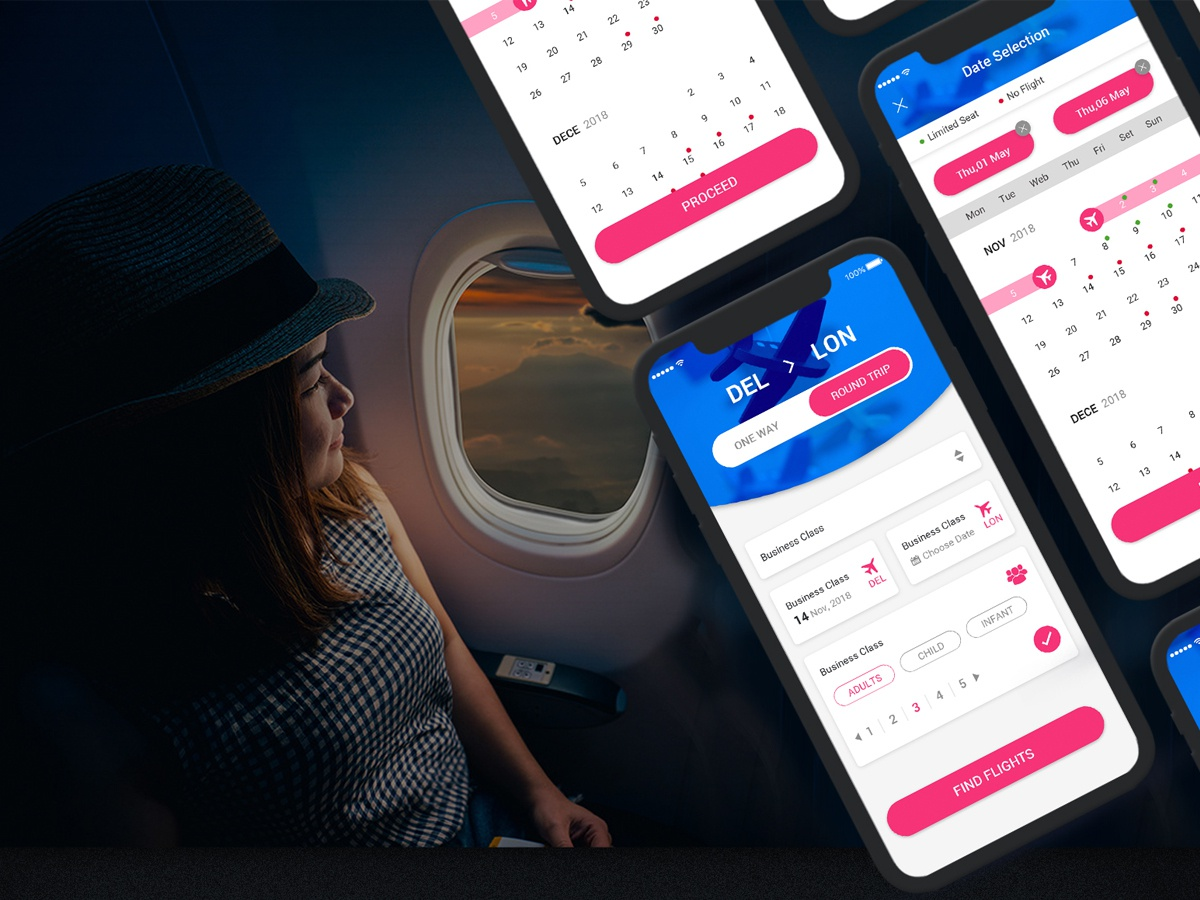 New Flight Booking App Calendar PSD website register profile user profile login free psd psd ios android booking app ui design