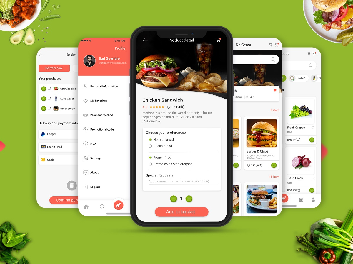 Fresh Food UI Concept Design PSD illustration icon android ios profile user profile free psd login booking app web website logo app ui design