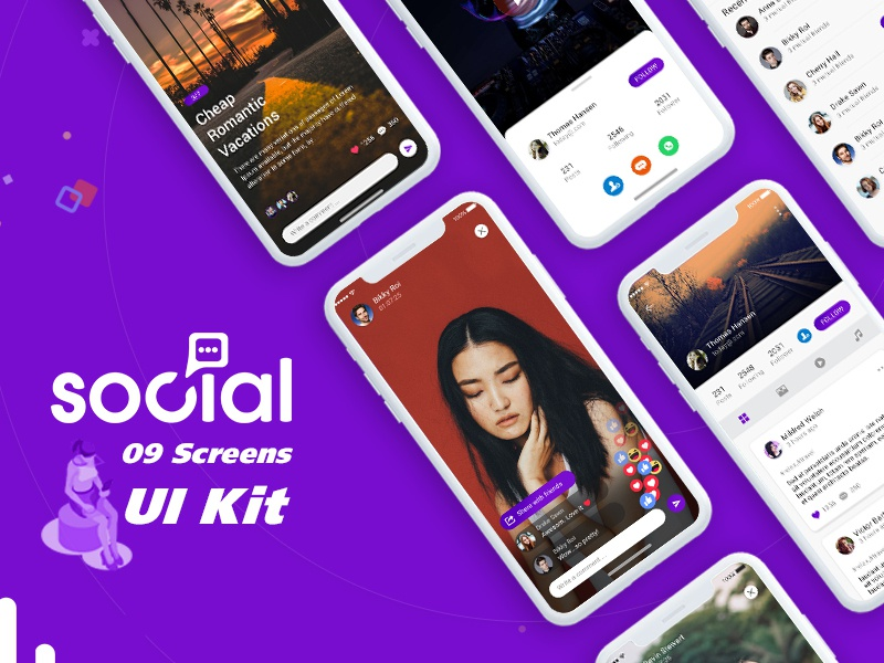Best Social App Ui Kit design PSD animation icon psd android web login user profile free psd booking app logo android app ui app design