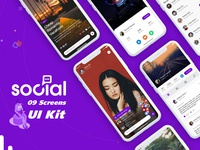 Best Social App Ui Kit design PSD