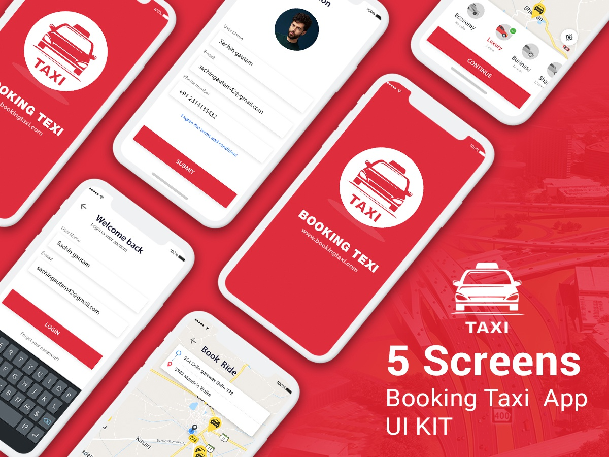 Taxi Booking App UI KIT PSD by Himanshu Gautam on Dribbble