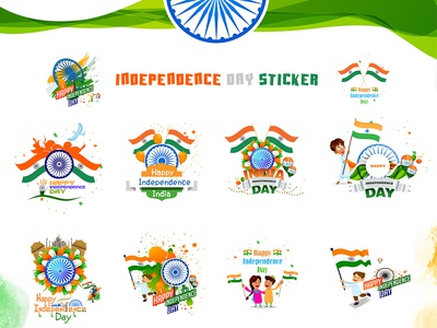 Independence day sticker vector branding logo happy independence day whatsapp stickers android app app design