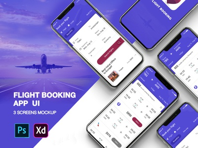 New Flight Booking UI Concept PSD web profile website logo ui booking app user profile free psd android app app design