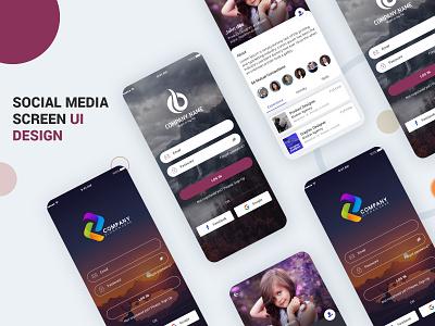 Social Media UI Kit PSD branding illustration login profile ui user profile free psd android app app design
