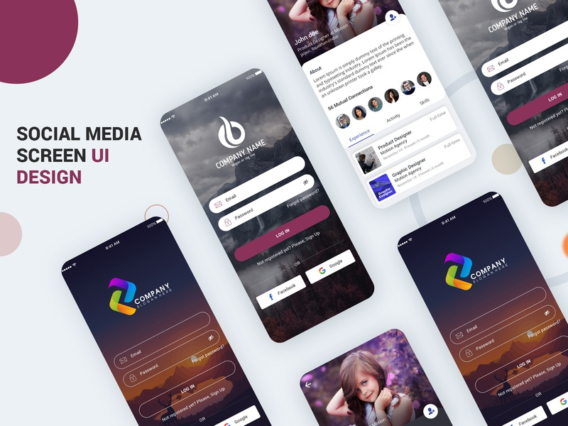 Social Media UI Kit PSD branding illustration login profile ui user profile free psd android app app design