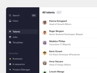 Crew.work — Sidebar talent list recruter sidebar ats crm recruiting talents candidates talent management minimalist product design crew productivity