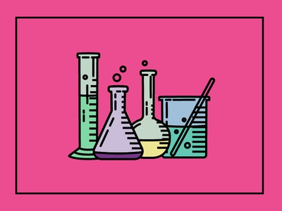 Chemistry! beakers chemistry experiment bubbles illustration set shapes