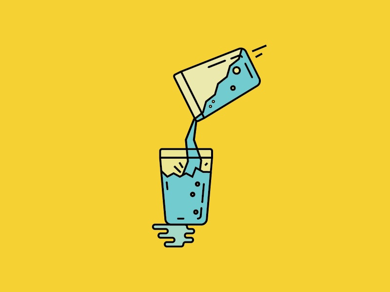 Pour Carefully water glass pour splash illustration flat