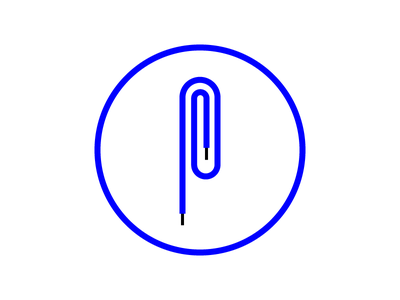 Paperclip exploration logo flat minimal icon paperclip