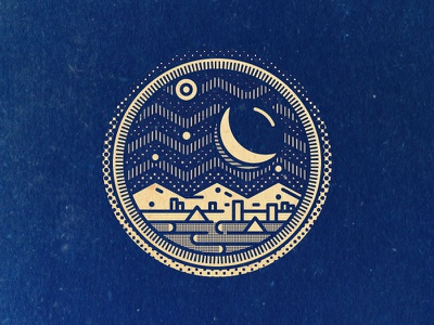 Moon Town geometric stamp gram icon line art texture