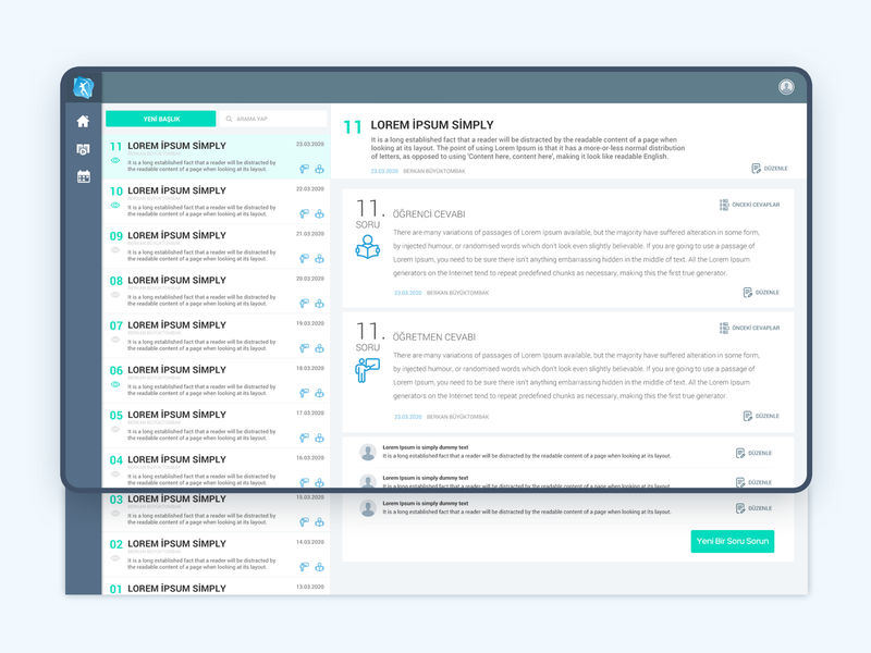E-Learning  Question and Answer ui design portal dashboard design ux dashboard ui webdesign web interaction design design ui