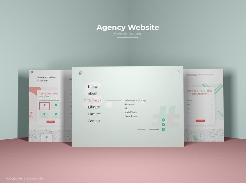 Agency Website Menu Contact Us Page ui design ux design contact us contact page menu design menu page menu portfolio site agency