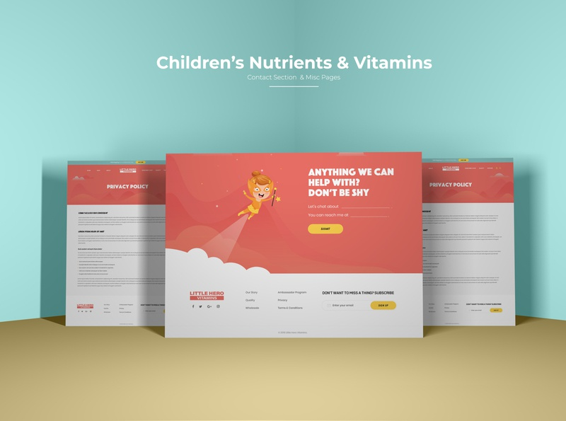 Children Nutrients & Vitamins Website animated website children animation contact section contact contact footer privacy page term and conditions children nutrient website children website