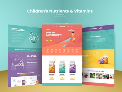 Children Nutrients & Vitamins Website packaging animations hero image design products health kids nurtrients vitamins superhero homepage design superheros children vitamins childrens children homepage