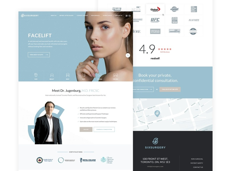 Plastic Surgery Site Homepage aesthetic cosmetic healthcare plastic home page ux design ui design plastic surgery homepage