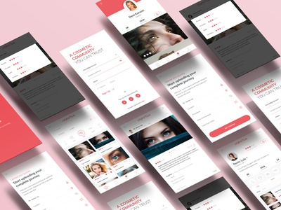 Healthcare Review Site App Screens