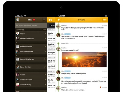 Messaging for iPad - Contact List messaging list history chat timeline sliding menu