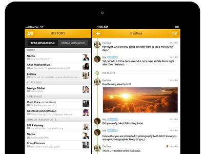 Messaging for iPad - History messaging list history chat timeline sliding menu