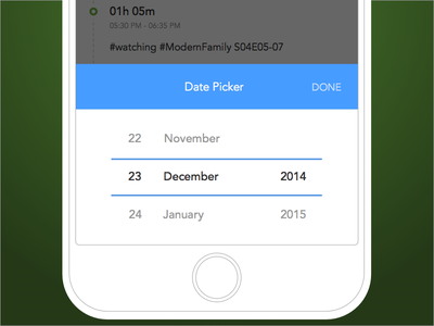 Duraation - Date picker for activities list iphone mobile duraation popup action sheet date picker