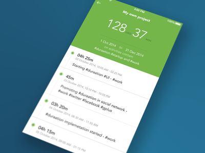 Duration - Overview result duraation result iphone list flat timeline