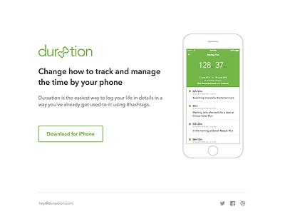 Duraation - landing page landing page simple flat iphone mobile duraation website