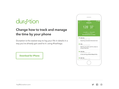 Duraation - landing page landing page simple flat iphone mobile duraation website