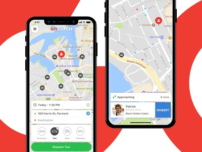 GoCatch v7.0 redesign card approaching map iphone x car hailing ride taxi hire car uber gocatch