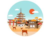 03 Nara Park. Japan travel set