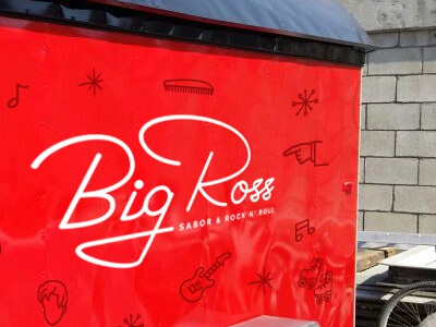 Big Ross Foodtruck lettering grease icons burgers food line art red branding proposal foodtruck rock n roll 50s