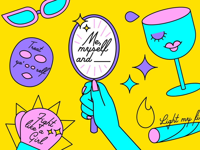 Me, Myself and ______ Illos girl power colorful illustration ladies ladieswineanddesign
