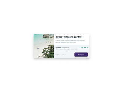 Travel Card Component component travel branding design card