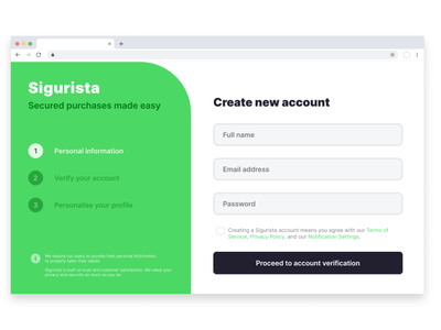 Sigurista - Sign Up Form component form design security sign up