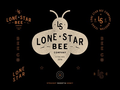 Hive mind bees honey texas logo branding