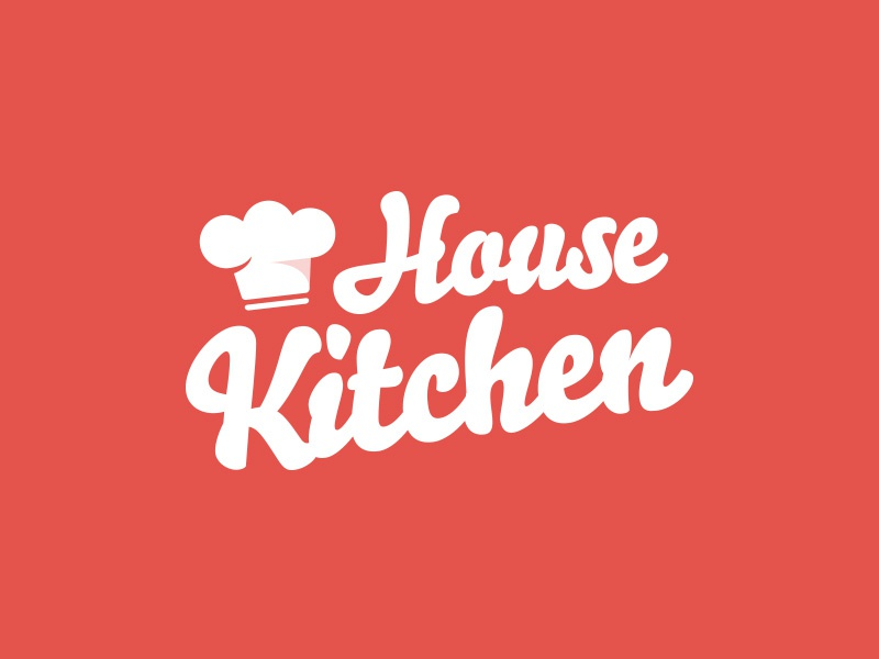 House Kitchen kitchen cooking typography illustration hat flat minimal orange branding logo food cook brand chef curving