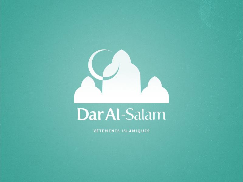 Dar Al-Salam arabic minimal peace flat logo salam islam clothes house brand branding illustration moon door
