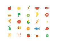 25 Almost Flat Food Icons