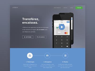 Lydia Redesign pay gray homepage france flat design phone minimal blue buy bank web webdesign