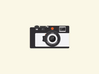 Flat Camera icon flat design m9 photo lens cam illustration vintage clean camera flat leica