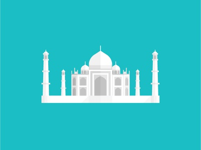 Taj Mahal india flat illustration white monument asia travel delhi geometric building architecture shadow