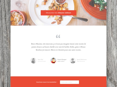 About page testimonials flat design web webdesign red colorful clean quote food cook kitchen