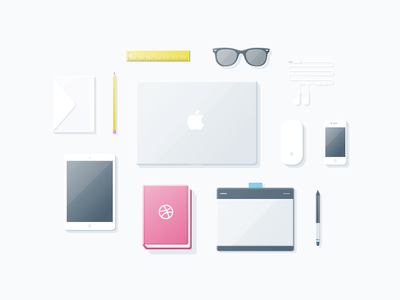 Packing up my things essentials illustration packing up clean dribbble soft ruler sketch freebie vector wacom wayfarer