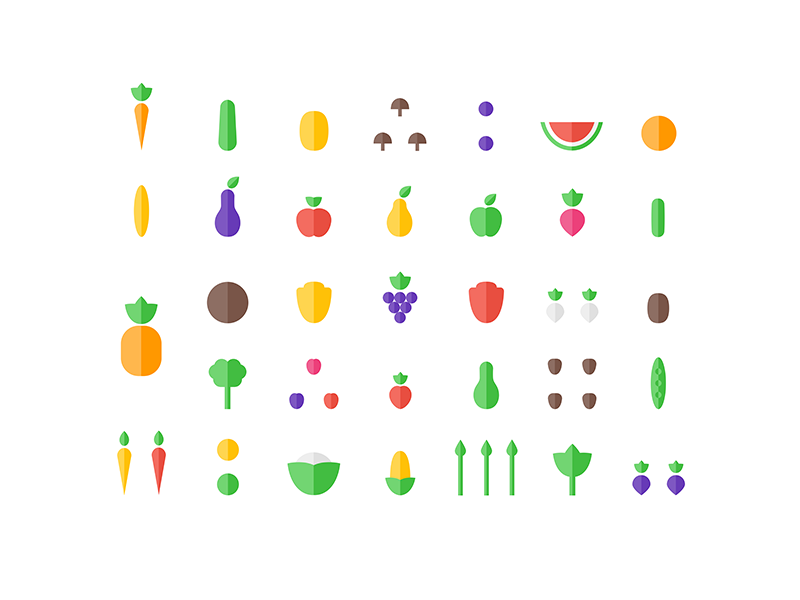 Healthy Ingredients food vegetables fruits flat minimal colorful farm icon icons icon set vegan sketch
